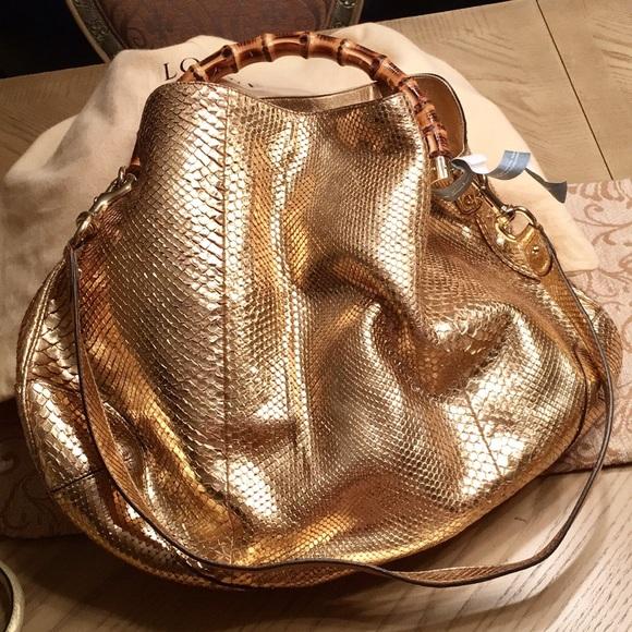 c1c8507a4678 Gucci Bags | Python Peggy Top Bamboo Handle Gold Handbag | Poshmark